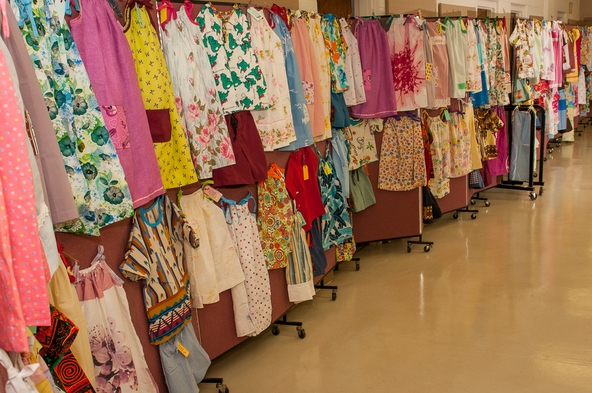 Dresses for children sewen by PVUC and community volunteers